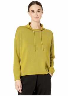 Eileen Fisher Peruvian Organic Cotton Funnel Neck Box-Top