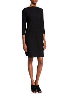 Eileen Fisher Petite 3/4-Sleeve Washable Stretch-Crepe Dress