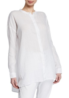 Eileen Fisher Petite Band-Collar Button-Down Long-Sleeve Handkerchief Linen Shirt