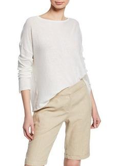 Eileen Fisher Petite Bateau-Neck Long-Sleeve Organic Linen/Cotton Sweater