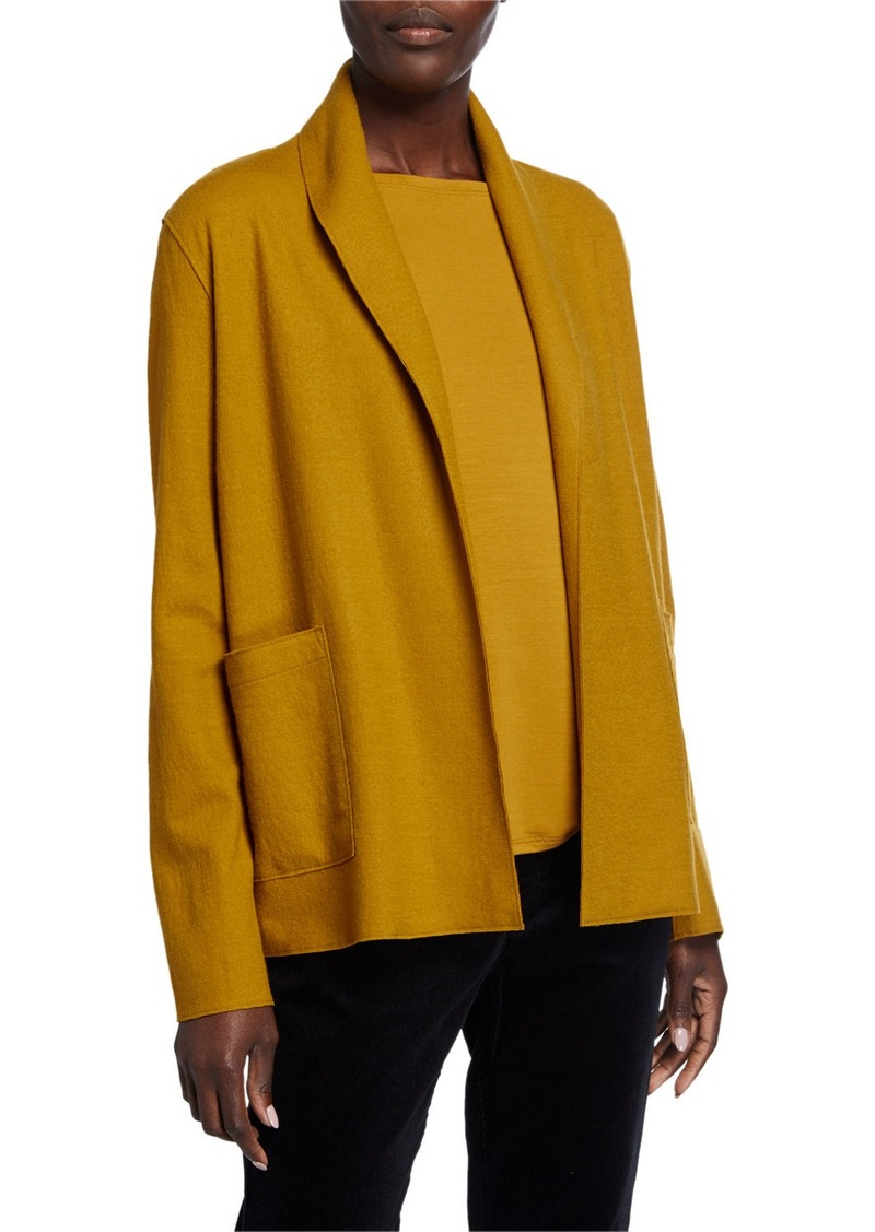 Eileen Fisher Petite Boiled Wool Jersey Kimono Jacket