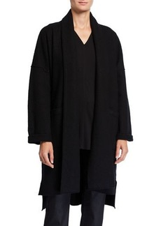 Eileen Fisher Petite Boiled Wool Long Kimono Jacket