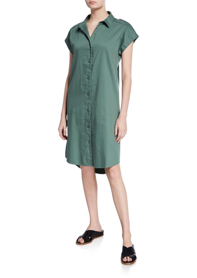 Eileen Fisher Petite Button-Down Cap-Sleeve Organic Cotton Twill Shirtdress