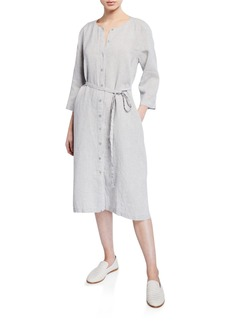 Eileen Fisher Petite Button-Front Sparkle Linen 3/4-Sleeve Shirtdress