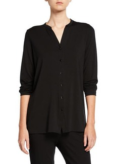 Eileen Fisher Petite Button-Front Tunic Shirt with Mandarin Collar
