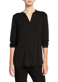Eileen Fisher Petite Button-Front Tunic Shirt with Mandarin Collar