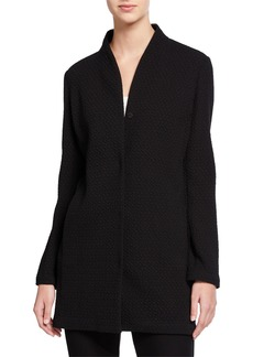 Eileen Fisher Petite Chevron Button-Front Long Jacket with High-Collar