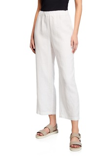 Eileen Fisher Petite Cropped Organic Linen Straight-Leg Pants