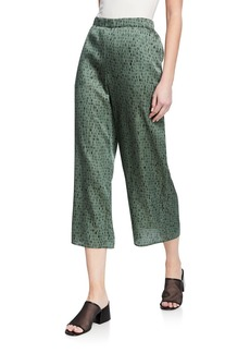 Eileen Fisher Petite Dash Print Wide-Leg Silk/Organic Cotton Crop Pants