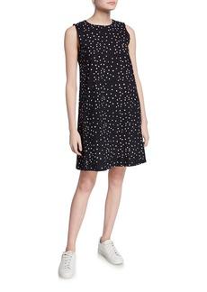 Eileen Fisher Petite Dot Hand Printed Organic Cotton Sleeveless Shift Dress