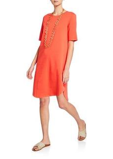 Eileen Fisher Petite Elbow-Sleeve Shirttail-Hem Jersey Dress