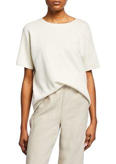 Eileen Fisher Petite Elbow-Sleeve Silk Cotton-Interlock Sweater