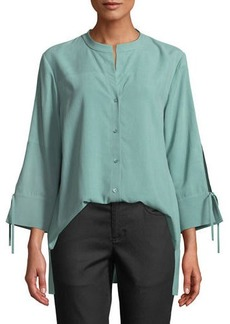 Eileen Fisher Petite Fuji Silk 3/4-Sleeve Blouse