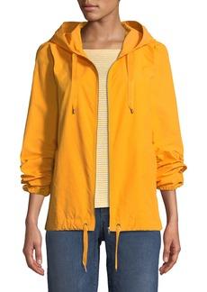 Eileen Fisher Petite Hooded Zip-Front Long-Sleeve Cotton-Blend Jacket