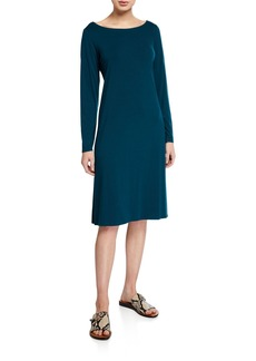 Eileen Fisher Petite Jersey Bateau-Neck Long-Sleeve Dress