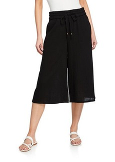 Eileen Fisher Petite Lofty Organic Cotton Gauze Drawstring Wide-Leg Crop Pants
