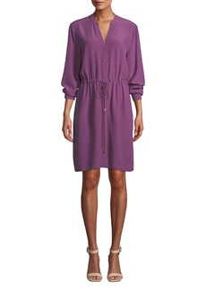 Eileen Fisher Petite Long-Sleeve Crepe Drawstring-Waist Dress
