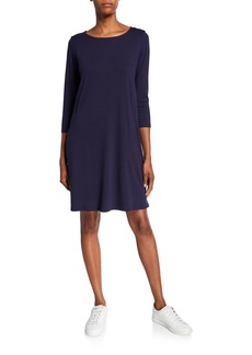 Eileen Fisher Petite Lyocell Jersey 3/4-Sleeve Dress
