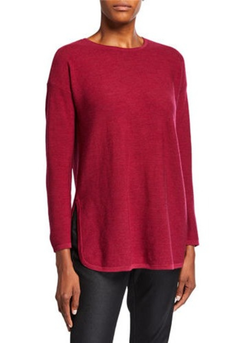 Eileen Fisher Petite Merino Wool Crewneck Curved-Hem Links Tunic Sweater