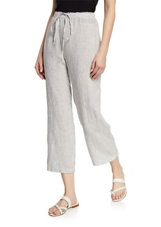 Eileen Fisher Petite Mini-Stripe Handkerchief Linen Drawstring Crop Pant