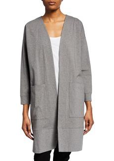 Eileen Fisher Petite Open-Front Bracelet-Sleeve Heathered Jersey Jacket