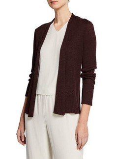 Eileen Fisher Petite Open-Front Long-Sleeve Shaped Organic Linen Cardigan