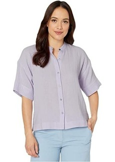Eileen Fisher Petite Organic Cotton Lofty Gauze Mandarin Collar Elbow Sleeve Boxy Shirt