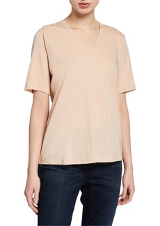 Eileen Fisher Petite Organic Cotton V-Neck Short-Sleeve Jersey Tee