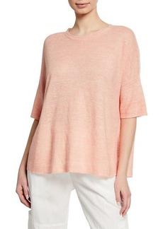 Eileen Fisher Petite Organic Linen Elbow-Sleeve Melange Sweater