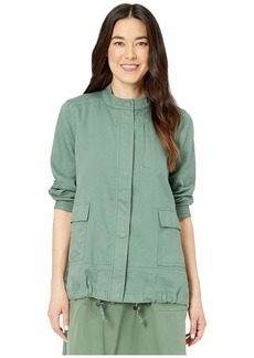 Eileen Fisher Petite Organic Twill Stand Collar Jacket