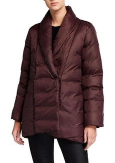 Eileen Fisher Petite Recycled Nylon High-Collar Puffer Coat