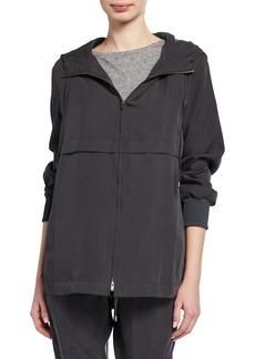 Eileen Fisher Petite Sandwash Zip-Front Hooded Jacket