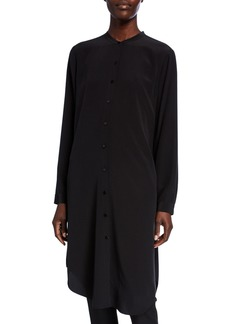 Eileen Fisher Petite Silk Crepe Button-Front Long Shirtdress w/ Mandarin Collar