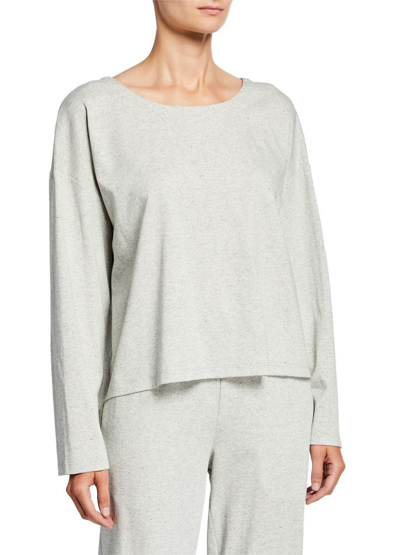 Eileen Fisher Petite Speckle Knit Jewel-Neck Long-Sleeve Box Top