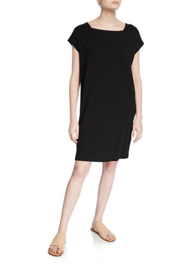 Eileen Fisher Petite Square-Neck Short-Sleeve Jersey Shift Dress