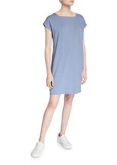 Eileen Fisher Petite Square-Neck Short-Sleeve Jersey Shift Dress