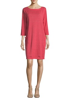 Eileen Fisher Petite Striped Organic Linen Shirt Dress
