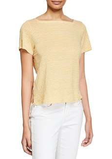 Eileen Fisher Petite Striped Square-Neck Short-Sleeve Jersey Linen Tee