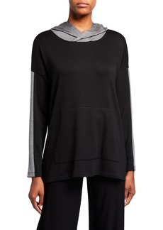Eileen Fisher Petite Terry Cloth Hooded Box Top