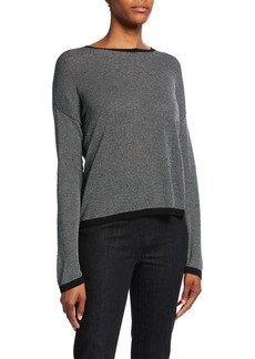 Eileen Fisher Petite Trimmed Long-Sleeve Crewneck Sweater
