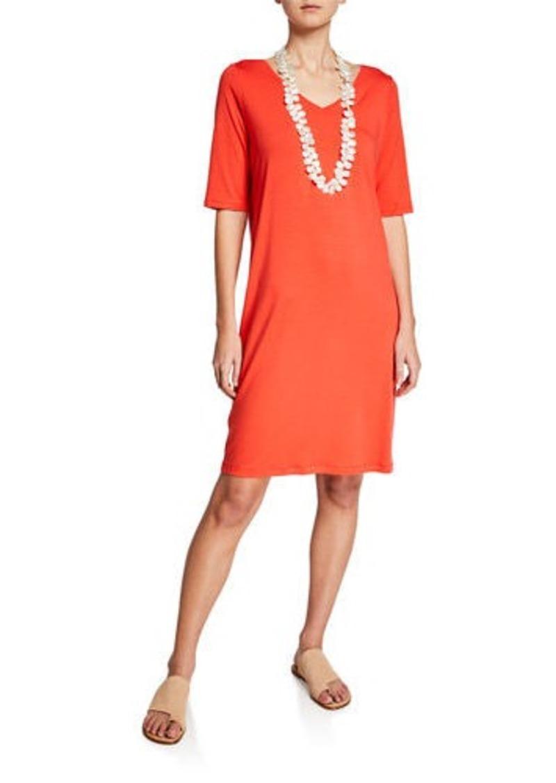 Eileen Fisher Petite V-Neck Jersey Shift Dress