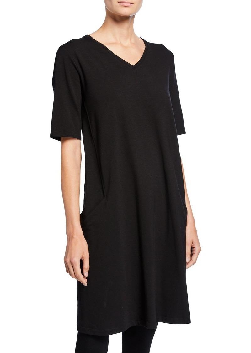 Eileen Fisher Petite V-Neck Short-Sleeve Jersey Dress