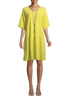 Eileen Fisher Petite Viscose-Crepe Drop-Waist Dress