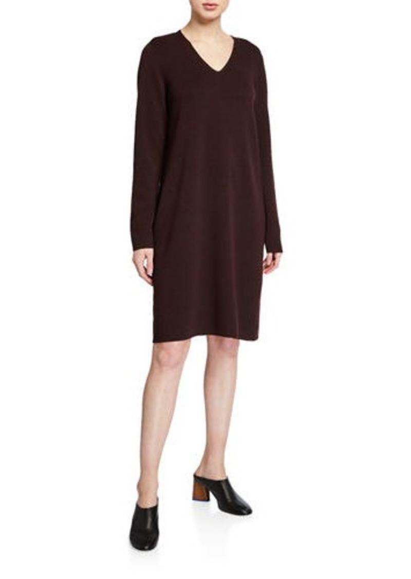 Eileen Fisher Petite Washed Fine Wool Crepe V-Neck Long-Sleeve Dress