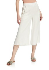 Eileen Fisher Petite Wide-Leg Cropped Silk Crepe Pull-On Pants