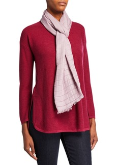Eileen Fisher Pleated Silk/Wool Grid Scarf