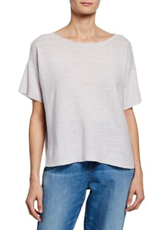 Eileen Fisher Plus Size Boat-Neck Short-Sleeve Organic Linen Box Sweater