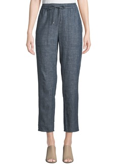 Eileen Fisher Plus Size Chambray Drawstring-Waist Straight-Leg Ankle Pants