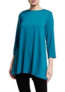 Eileen Fisher Plus Size Crewneck 3/4-Sleeve Jersey Swing Tunic