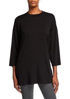 Eileen Fisher Plus Size Crewneck Jersey 3/4-Sleeve Top